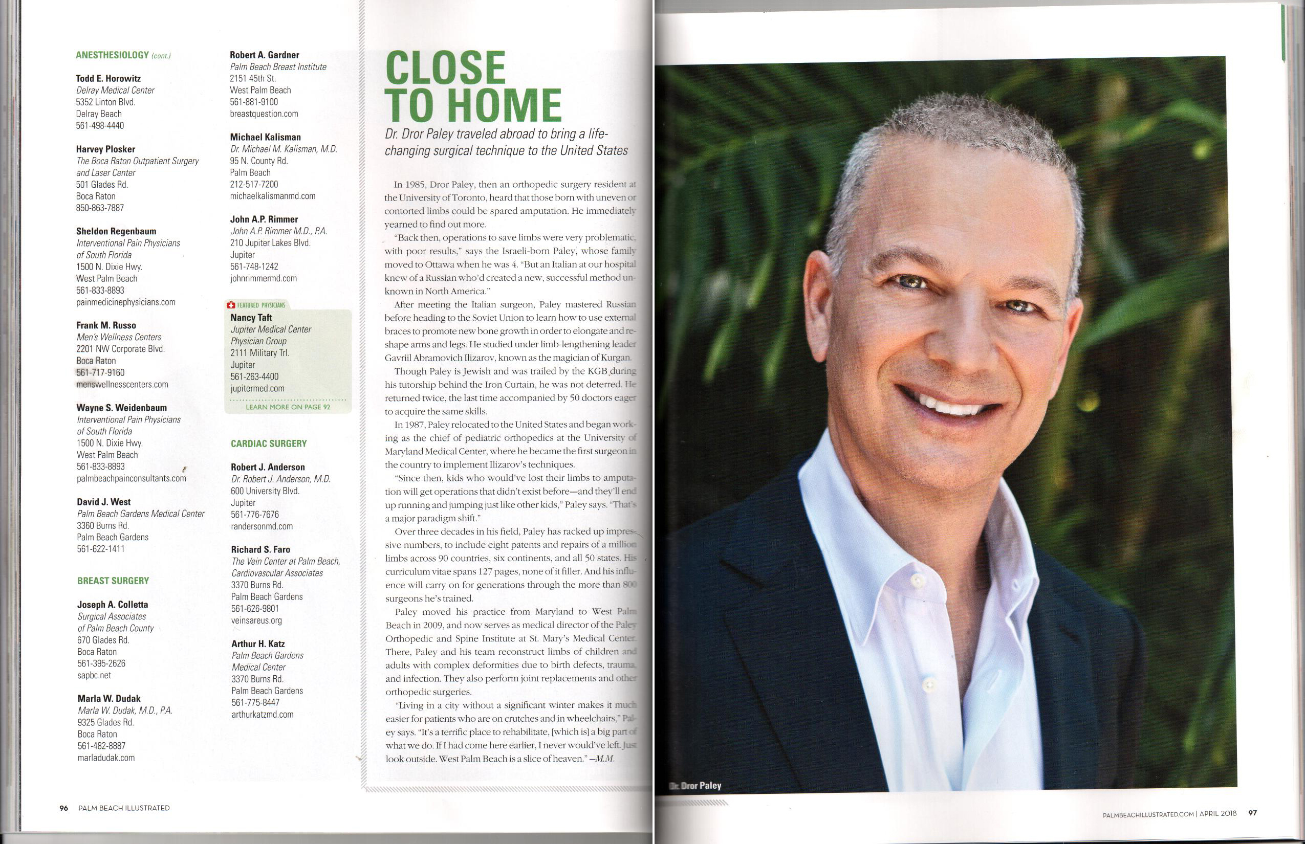 Dr. Paley on the Palm Beach Illustrated